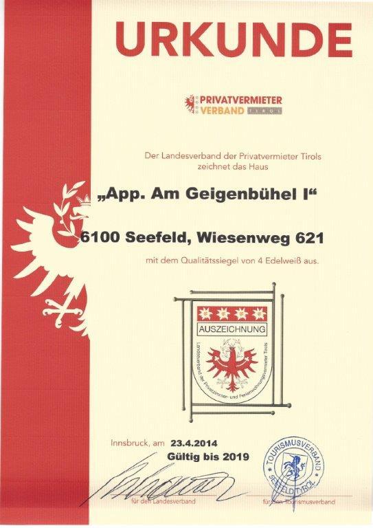 4 Edelweiss Zertifikat